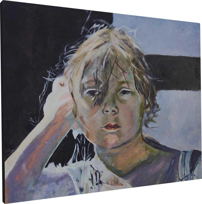 Ein Junge schaut in dem Ölbild von Melina Petala in die Kamera