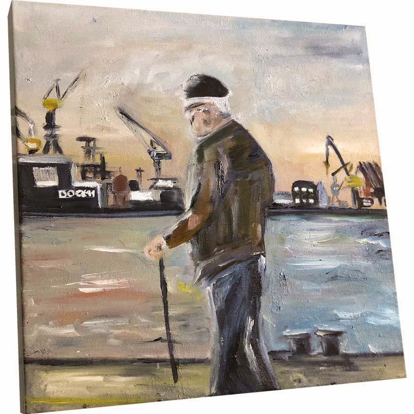 Das Ölbild vom alten Mann am Hamburger Hafen von Melina Petala