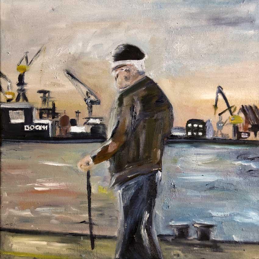 Der alte Mann am Hamburger Hafen von Melina Petala